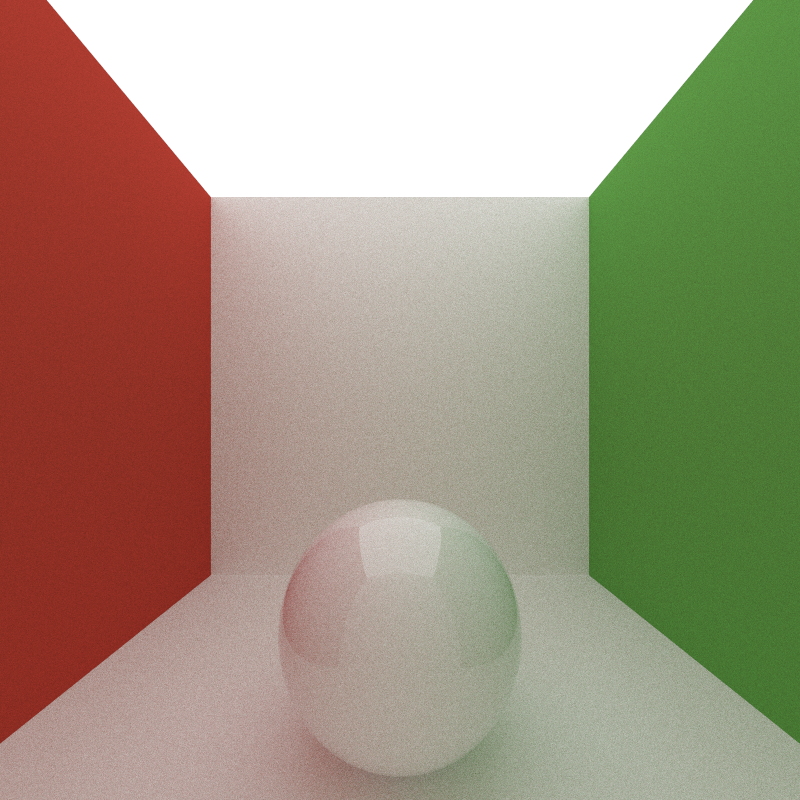 Max Bounce Depth of 10, 200 iterations, took 995 seconds to render.