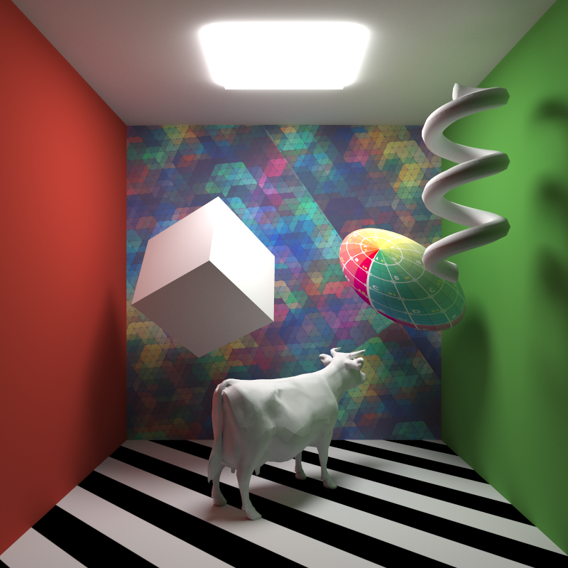Ground truth global illumination render, representing 512000 samples per pixel. All lights sampled by BRDF only.