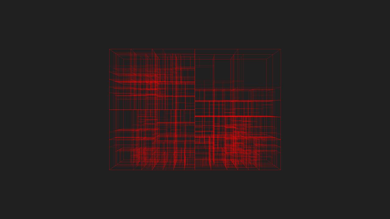 Max depth 10, min objects per node 20, min volume .0001% of whole tree