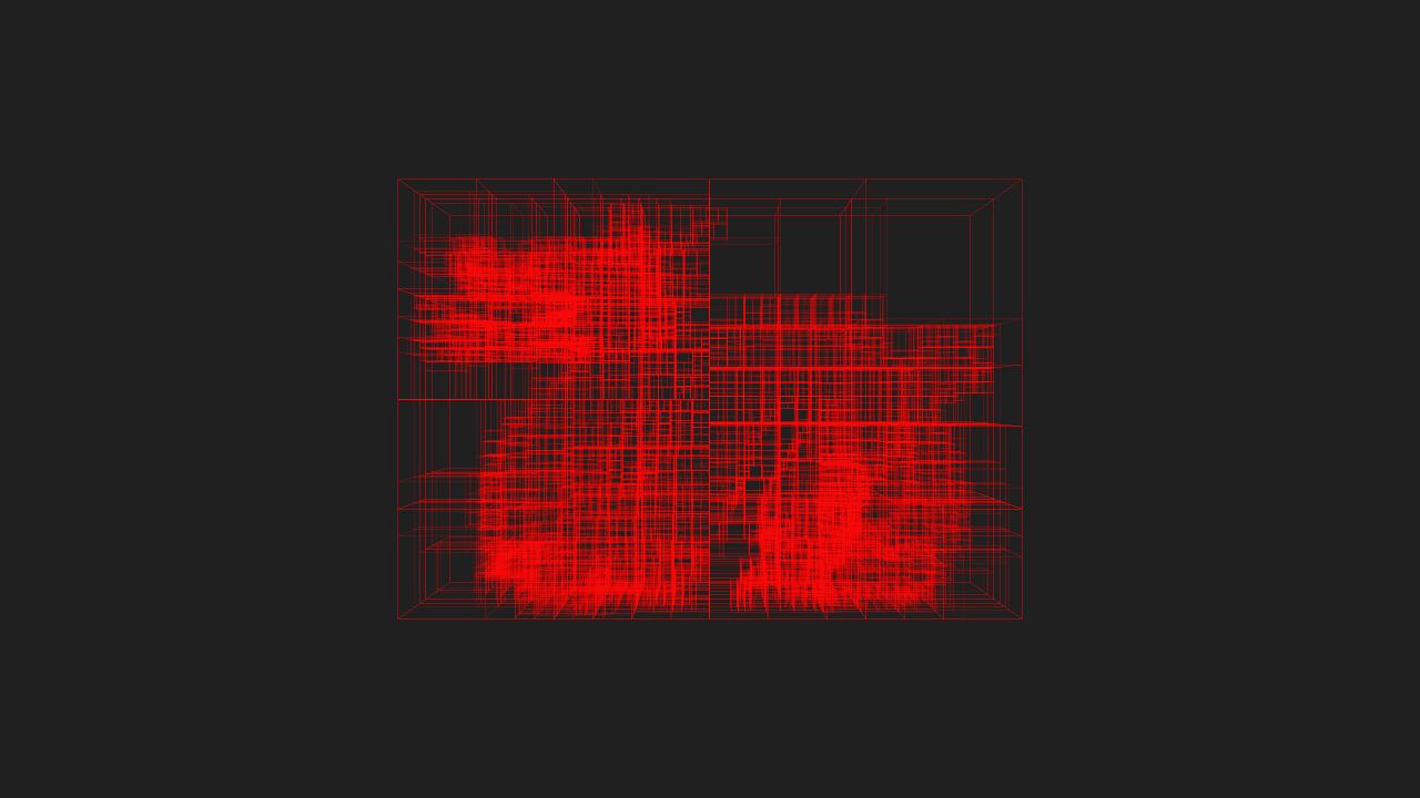 Max depth 15, min objects per node 20, min volume .0001% of whole tree