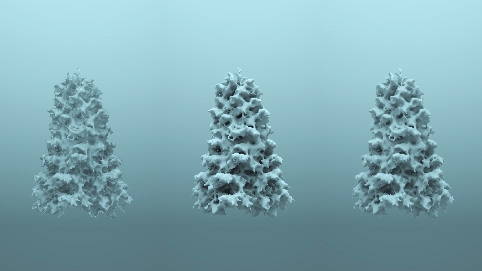 From left to right: refractive frozen ice, powdery diffuse, 50-50 blend