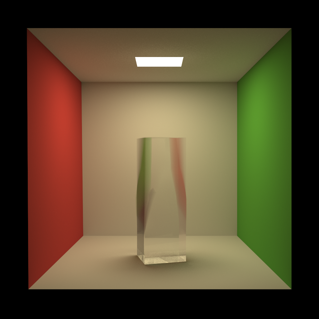 Deformational motion blur test using a glass rectangular prism with the top half twisting over time.