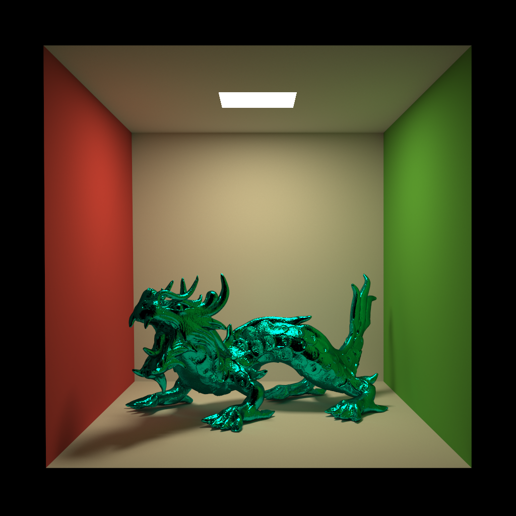 Rough blue metallic XYZRGB Dragon model in a Cornell Box, rendered entirely with Takua Render a0.5