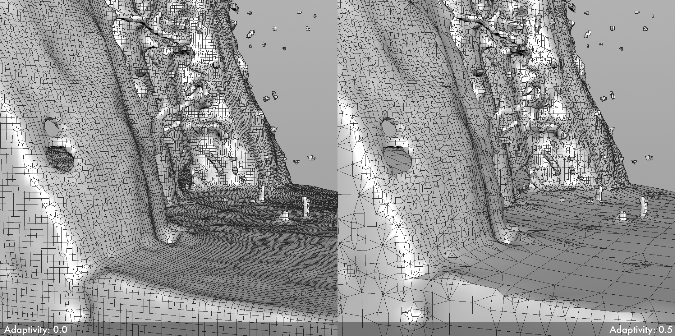 Zero adaptive meshing (on the left) versus adaptive meshing with 0.5 adaptivity (on the right). Note the significantly lower poly count in the adaptive meshing, but also the corresponding loss of detail in the mesh.