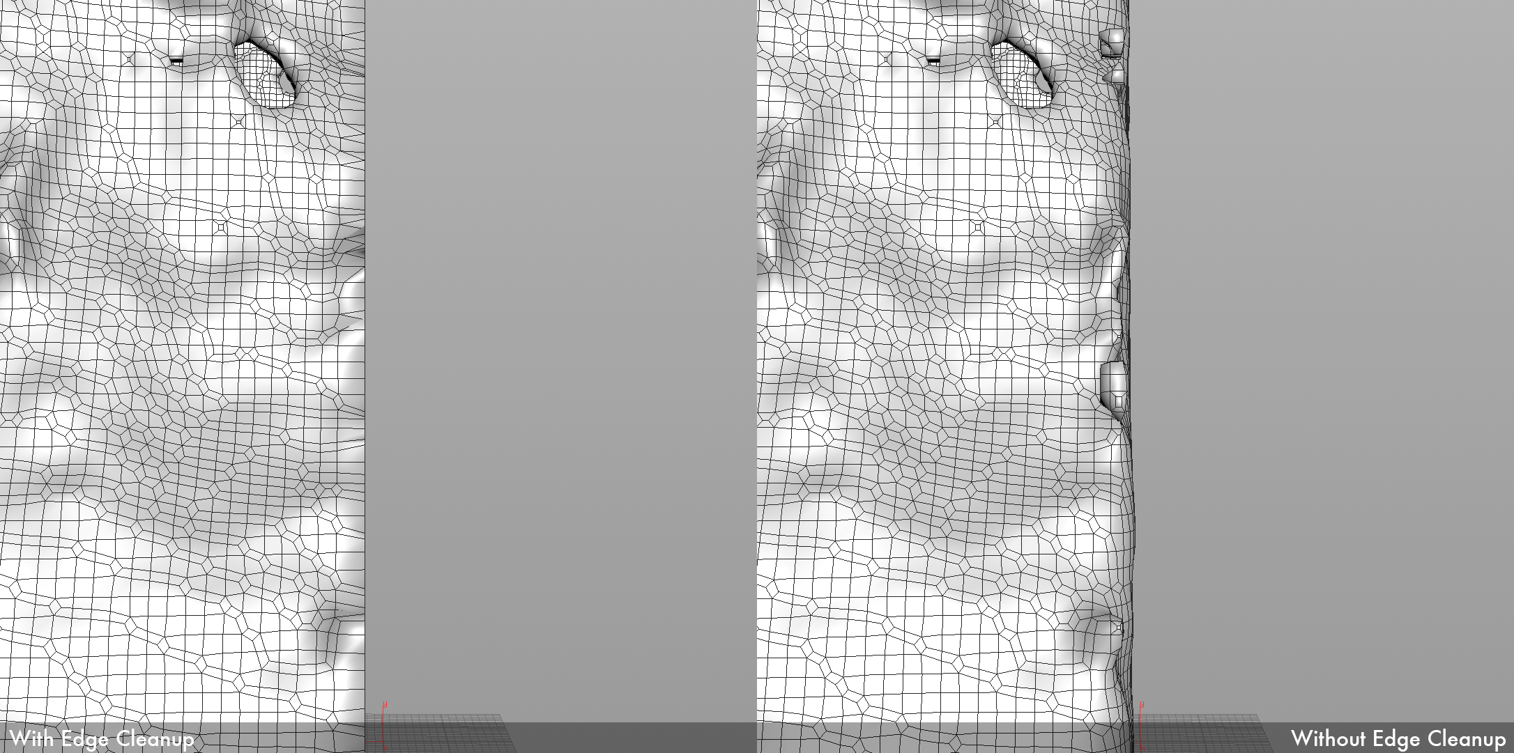 The mesh on the left has a cleaned up, stable liquid-solid interface. The mesh on the right is the same mesh as the one on the left, but before going through cleanup.