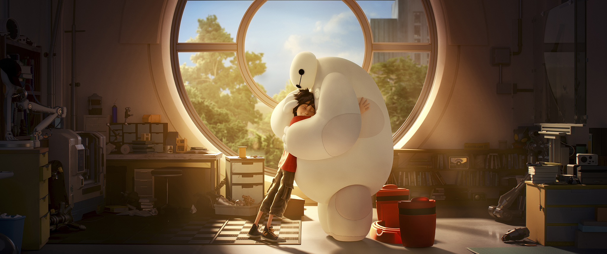 A still from Big Hero 6, rendered entirely using Hyperion. Property of Walt Disney Animation Studios.