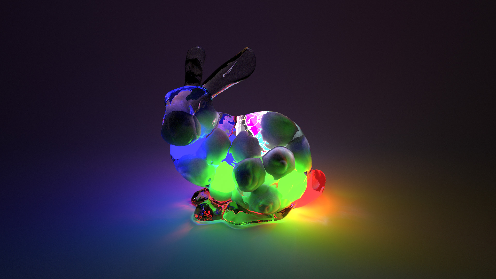 Various diffuse spheres and sphere lights inside of a glass bunny, rendered using BDPT.