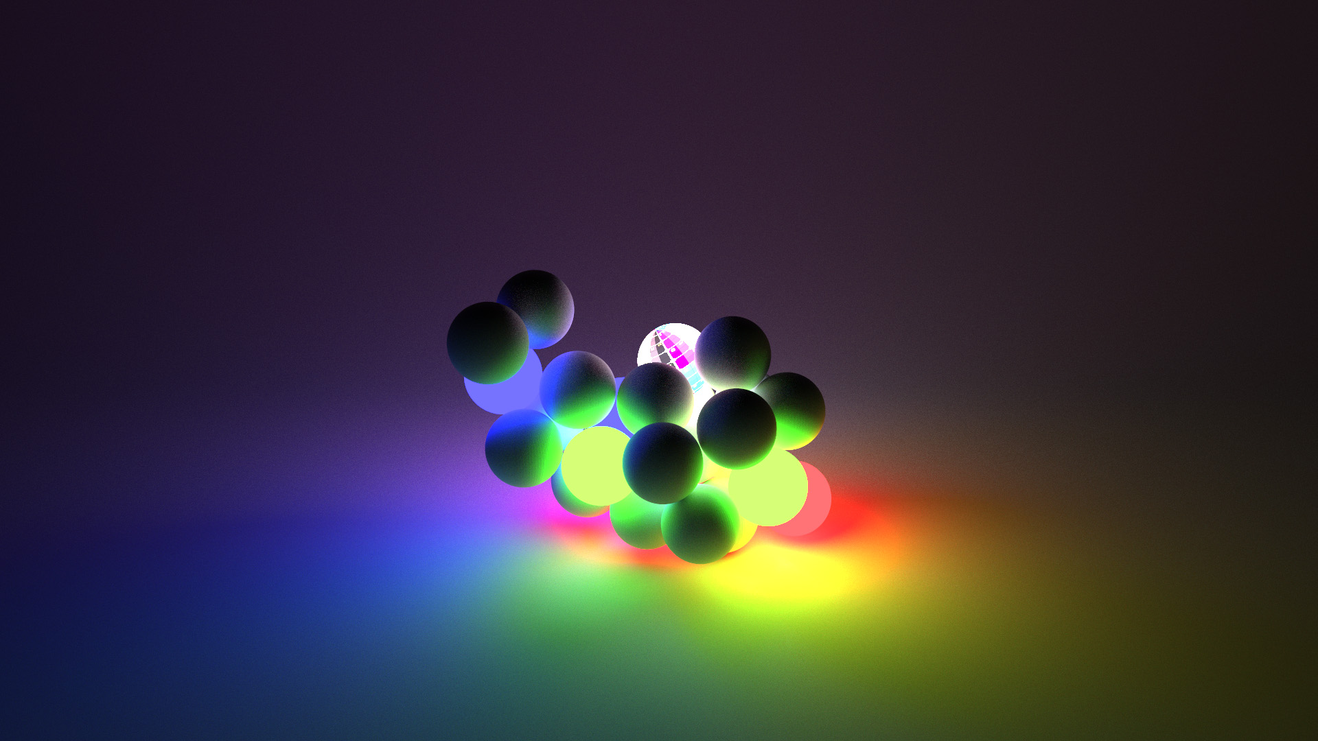 Same spheres as above, sans bunny. Rendered using BDPT.
