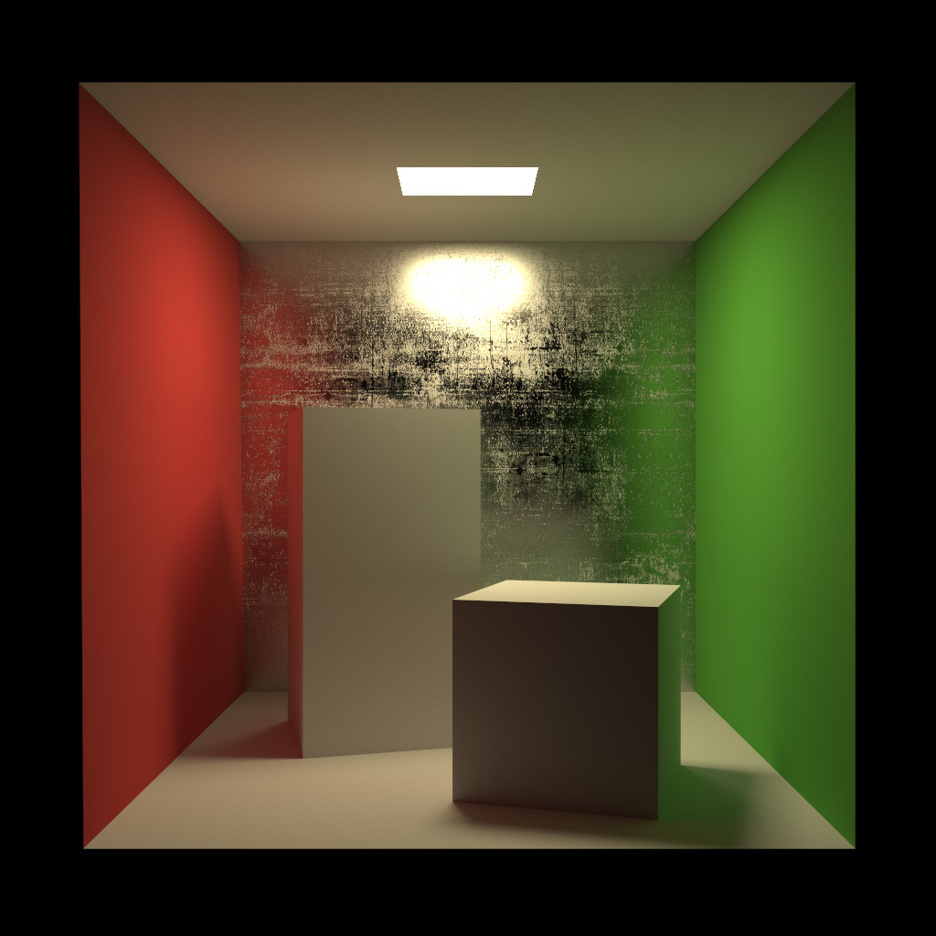 Figure 5: Cornell Box with scratched glossy back wall. Rendered using BDPT with MIS.
