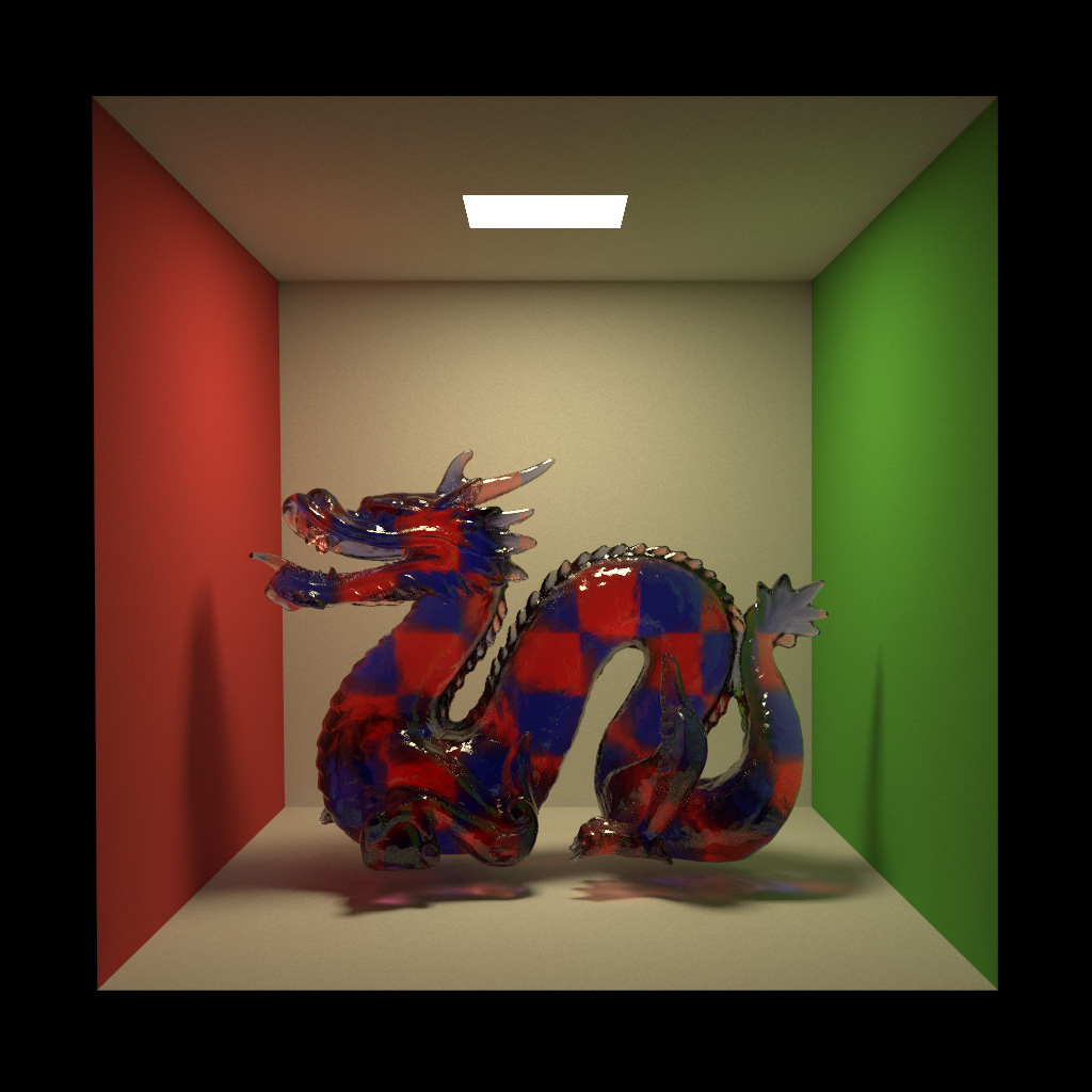 Glass Stanford Dragon filled with a red and blue volumetric checkerboard attenuating medium. Rendered in Takua a0.5 using VCM.