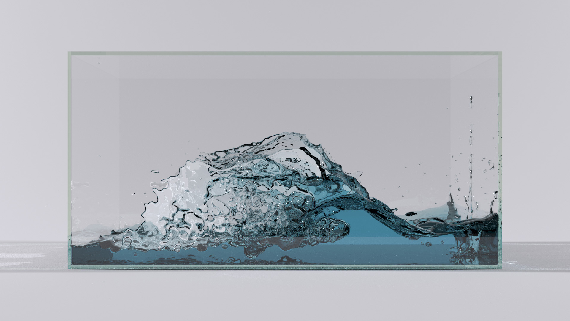 Blue liquid in a glass box, with attenuated transmission. Simulated using PIC/FLIP in Ariel, rendered in Takua a0.5 using VCM.