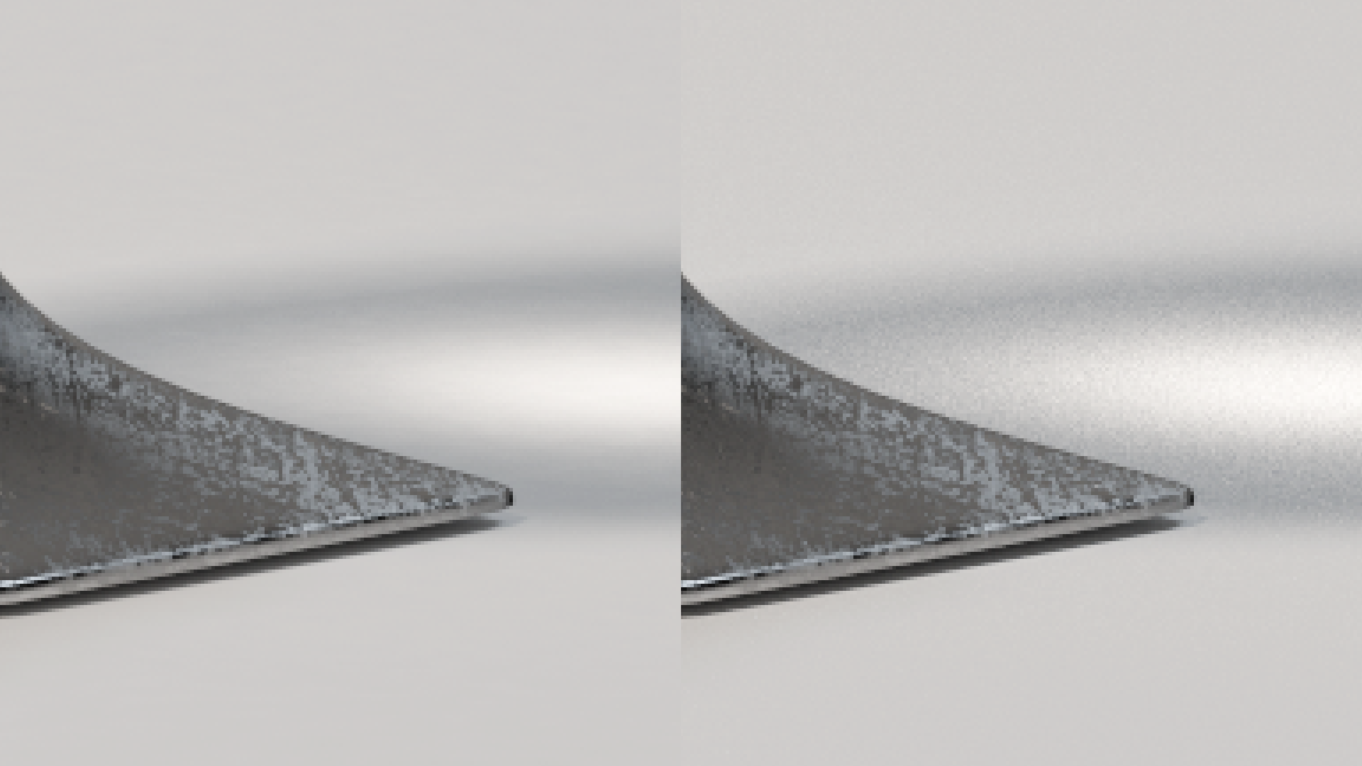 500% crop. Left: converged baseline render. Right: fixed sampling, 5120 samples per pixel, BDPT.