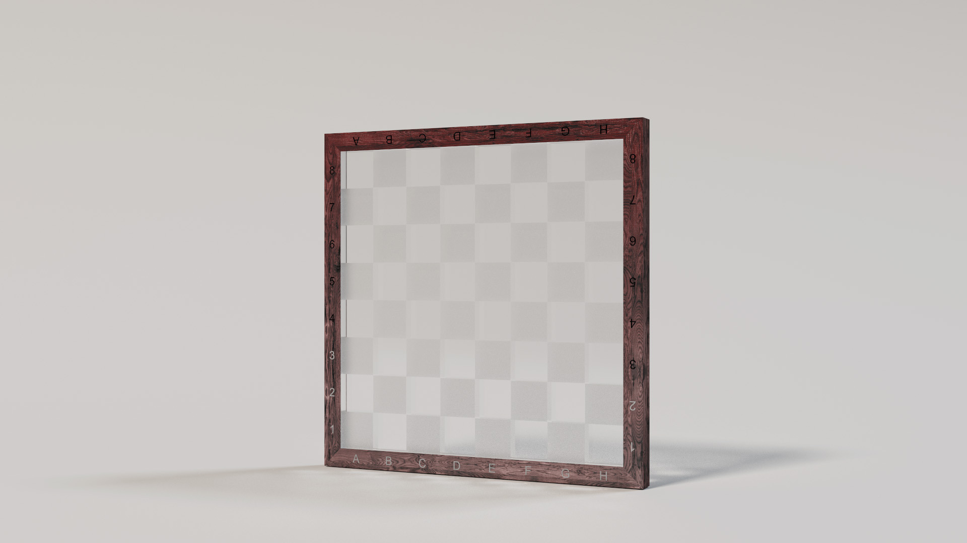 Chessboard with ground glass squares and clear glass squares. Rendered using BDPT.