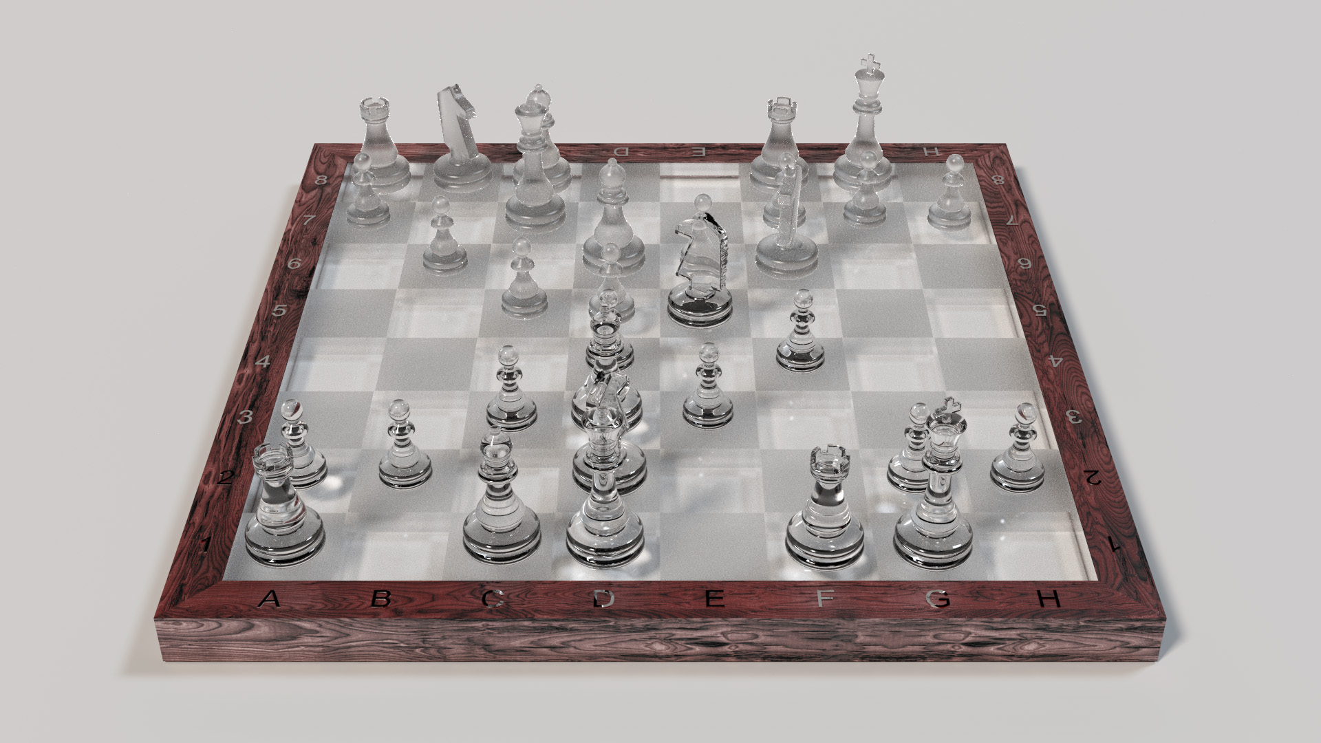Chessboard with ground glass and clear glass pieces. Rendered using BDPT.