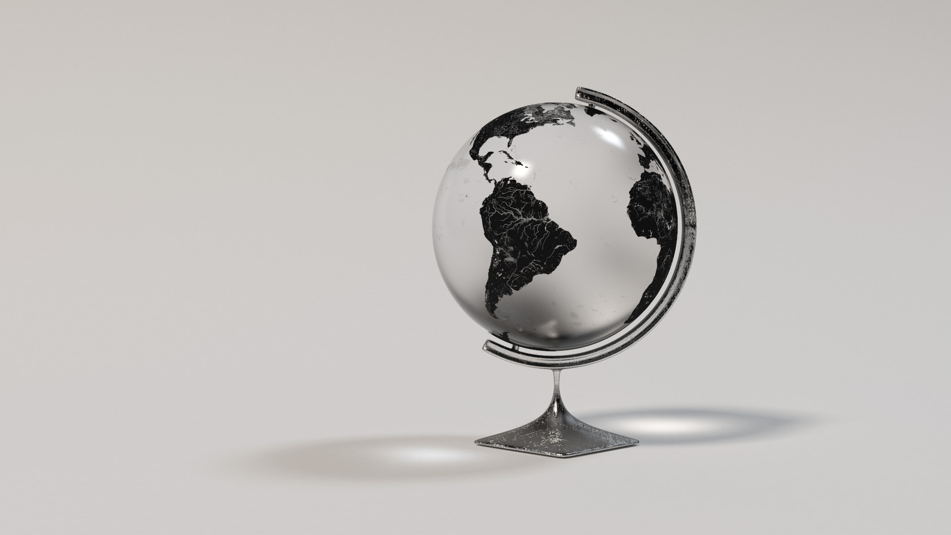 Glass globe using Takua's layered BSDF system. The globe has a base ground glass layer, a mirror layer for continents, and a dirt/fingerprints layer for additional detail. Rendered using VCM.