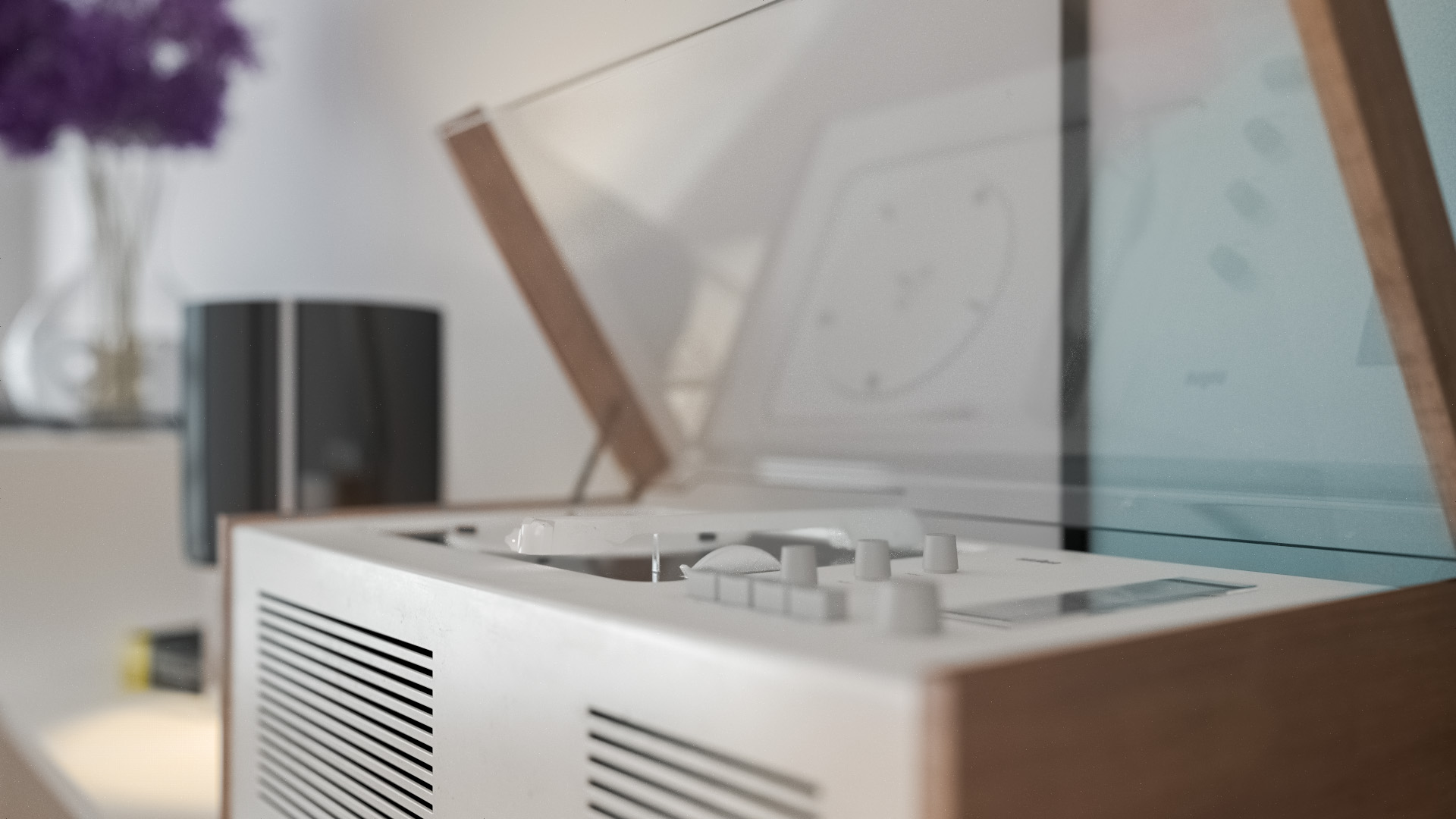 Closeup of Braun SK4 record player with DOF. Rendered using VCM.