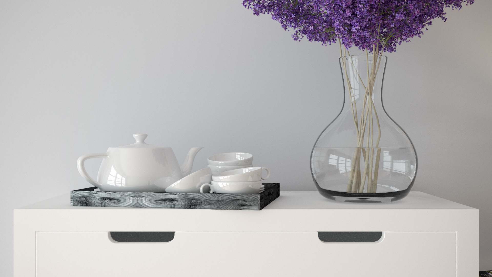 Flower vase and tea set. Rendered using VCM