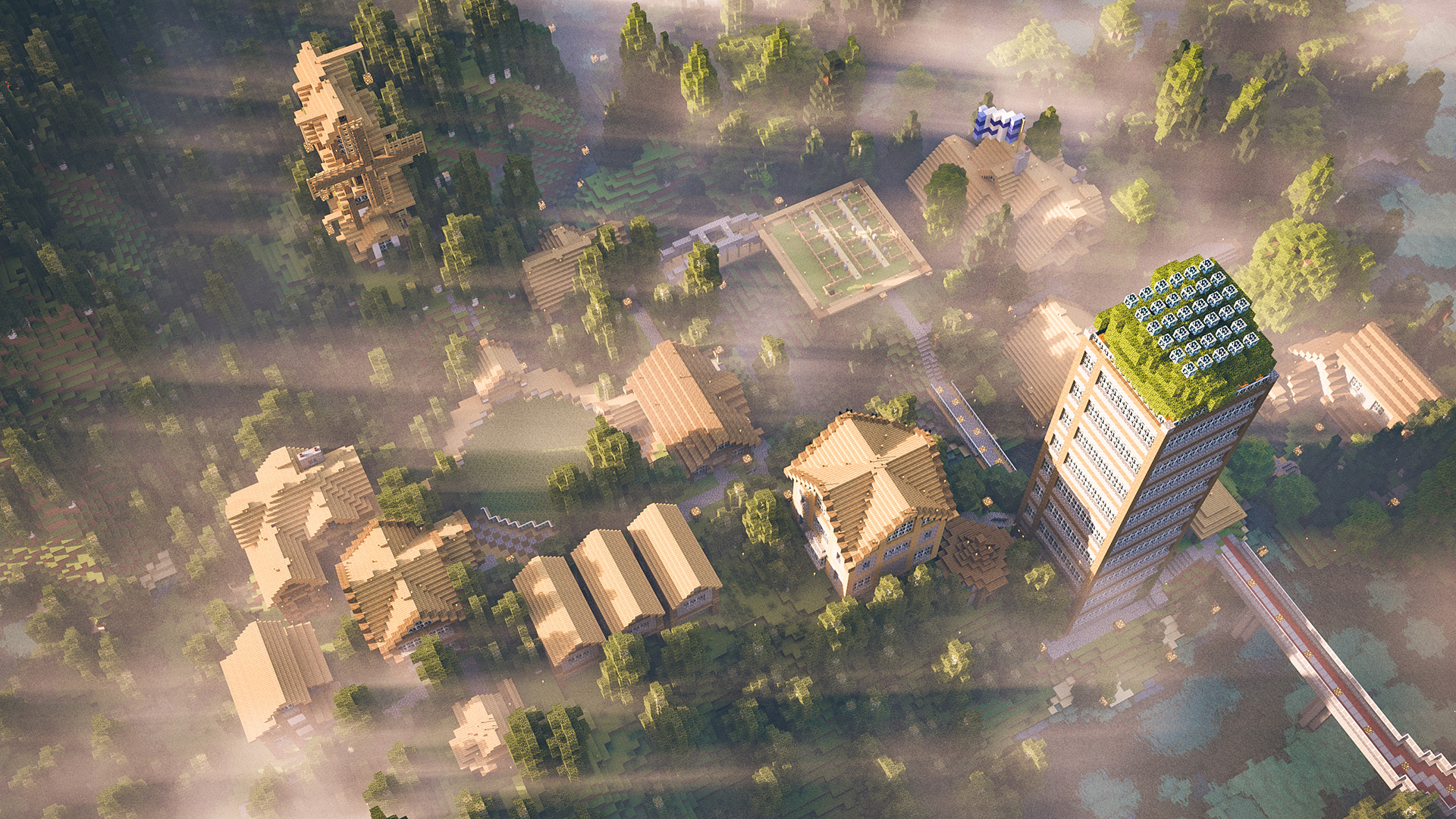 A Minecraft town from the pve.nerd.nu Minecraft server, rendered in Renderman 20/RIS.