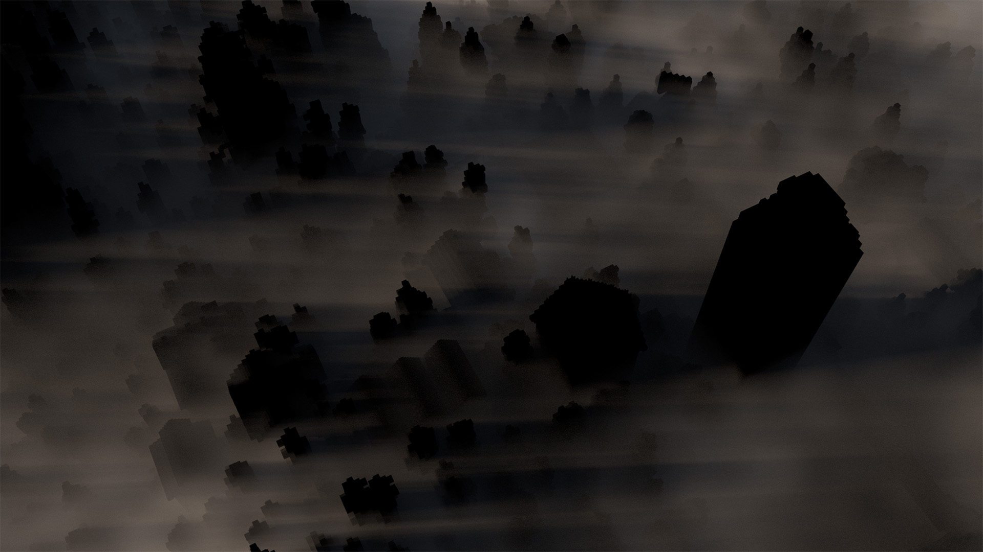 Final fog pass, with extra spotlight. Note how the fog seems to sit in the lower river valley and pour out of the forest.