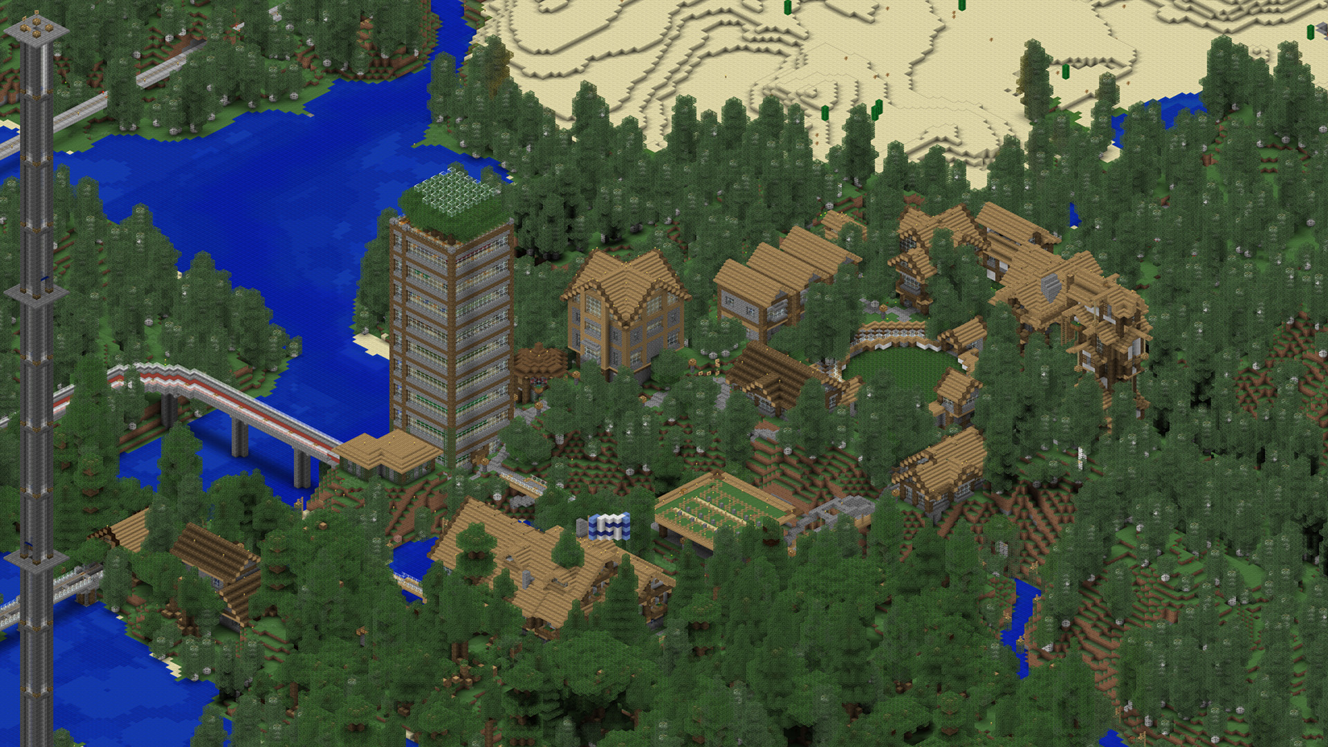 Zoomed cartograph view of our Minecraft town.