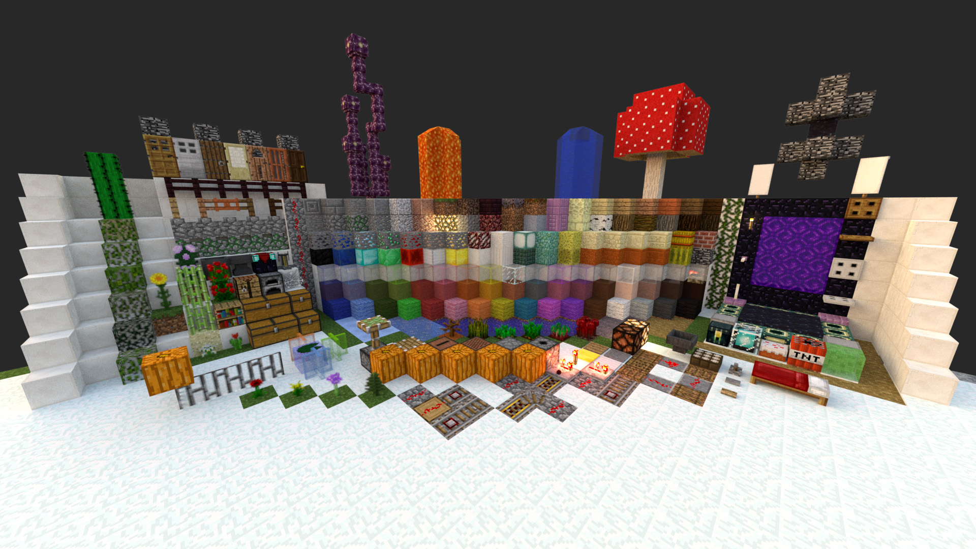 Final materials on a resource pack test world.