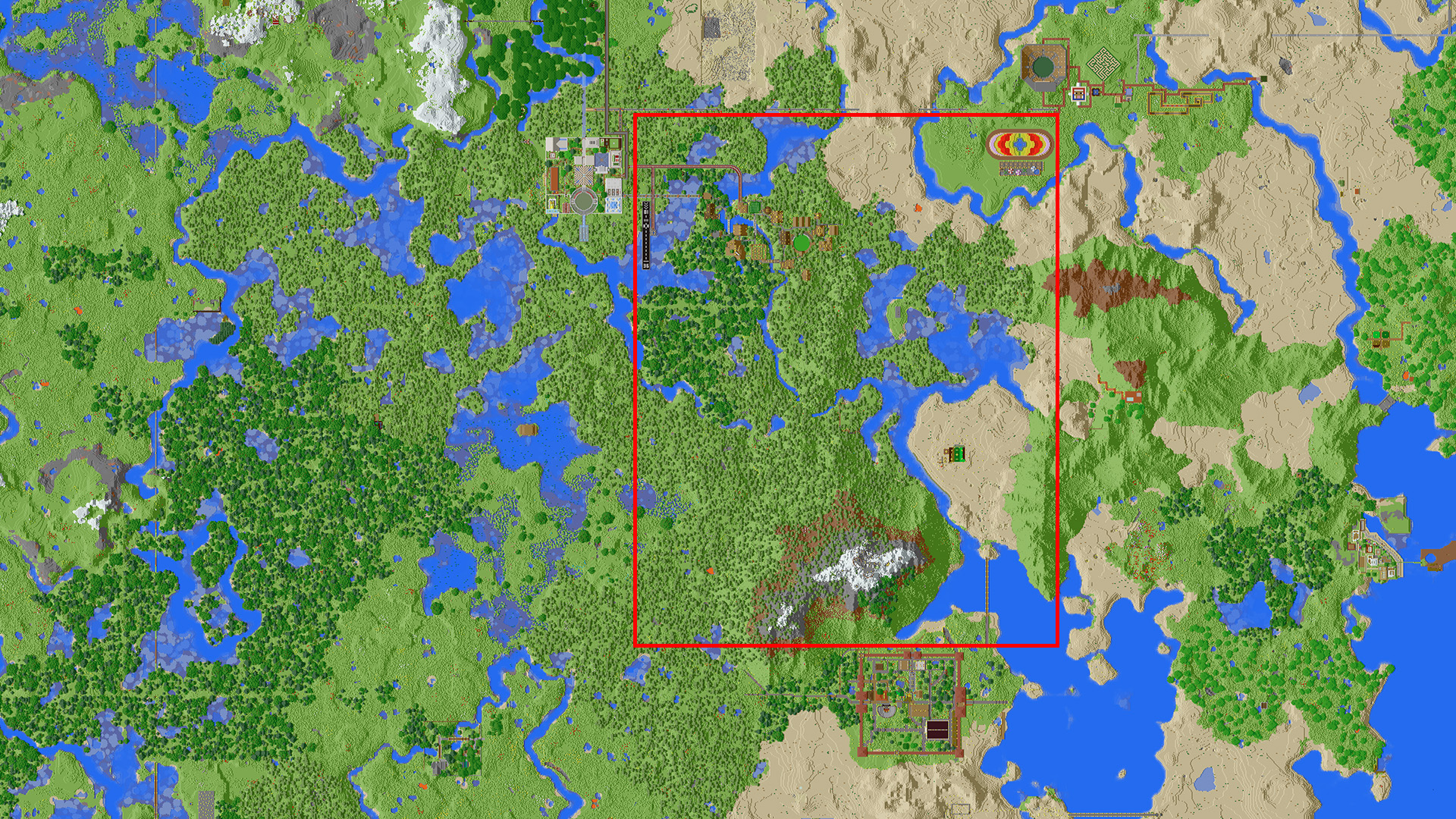 Section of the map for export is outlined in red.