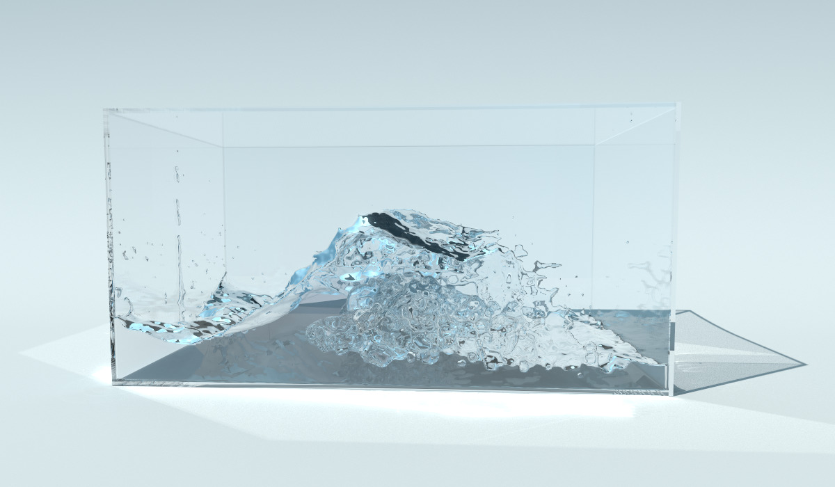 A frame from my Ariel fluid simulator, rendered using PBRT-v3.