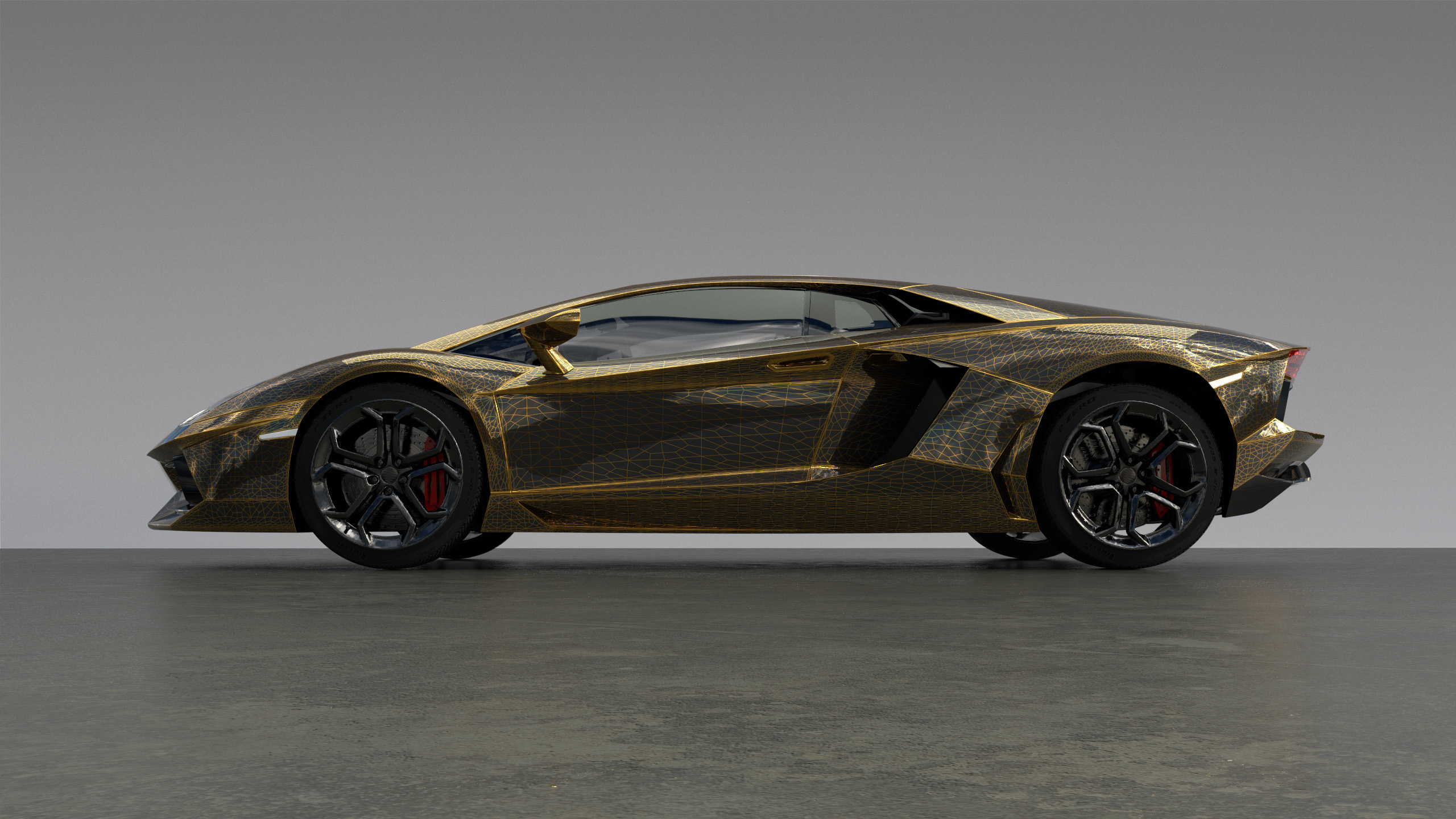 Figure 6: An outrageous Aventador paint scheme using a procedural wireframe texture to blend between black and metallic gold car paint.