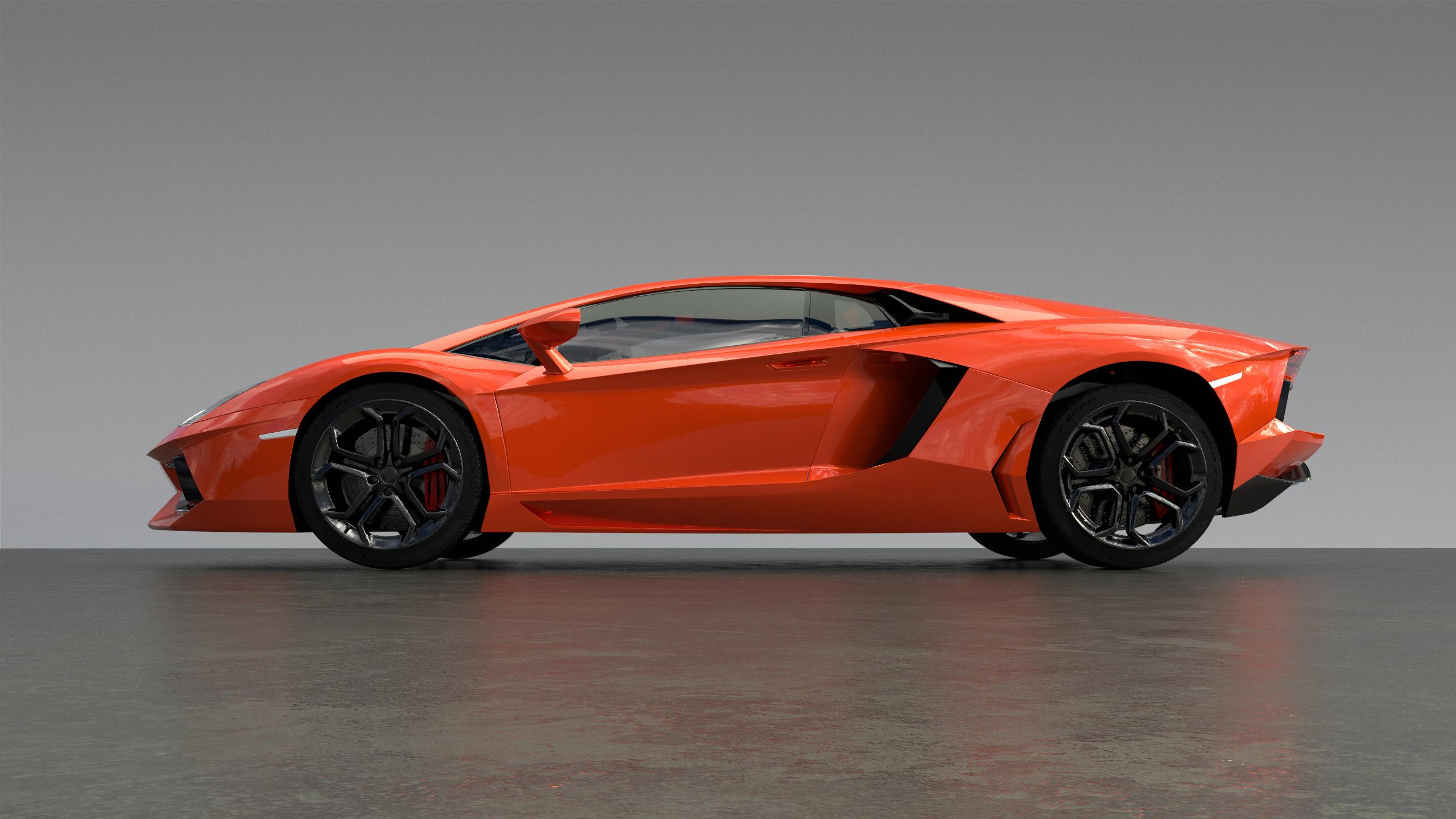 Figure 1: An orange-red Lamborghini Aventador, rendered in Takua a0.7 using VCM.
