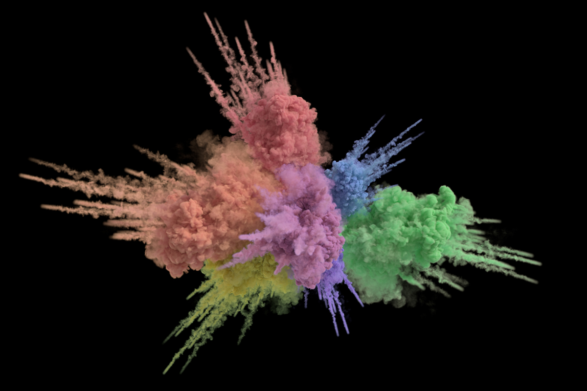 Image from paper Figure 12: a colorful explosion with chromatic extinction rendered using spectral tracking.