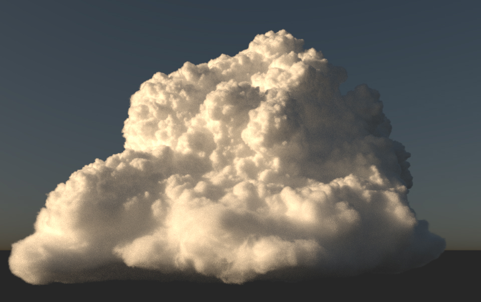 Image from paper Figure 11: an optically thick cloud rendered using decomposition tracking.