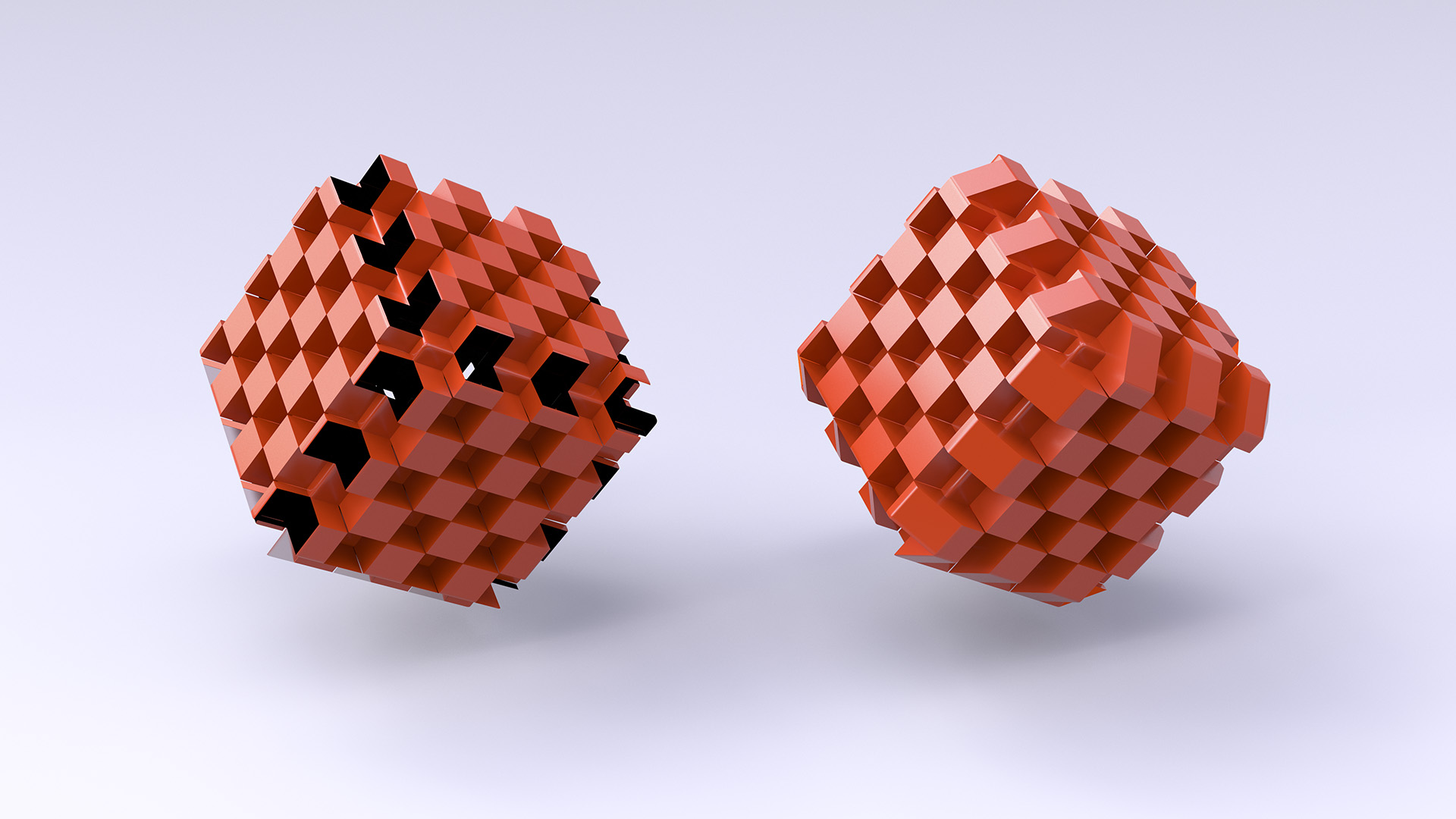 Figure 6: Displaced cubes with and without crack elimination.
