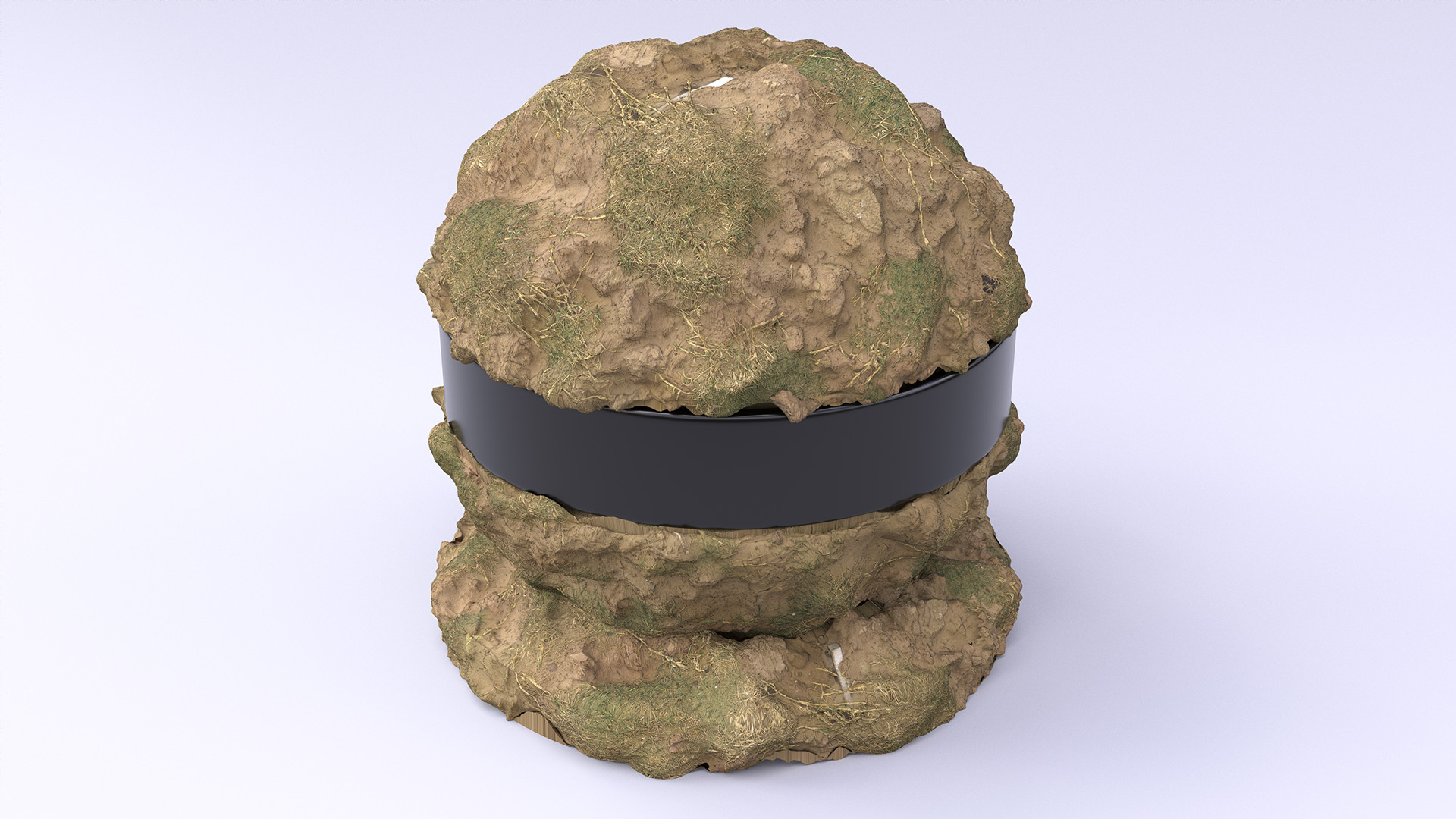Figure 5: Closeup of the dirt shaderball from Figure 4. In this render, the shaderball is tessellated and displaced to a subpixel resolution.