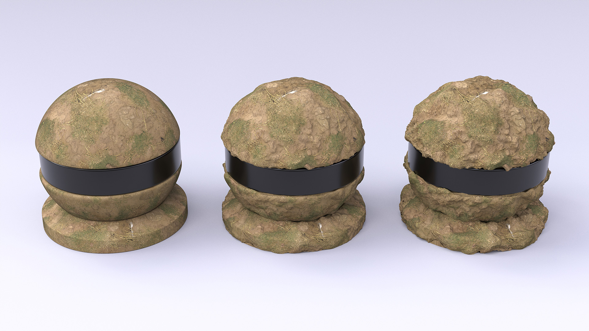 Figure 4: Dirt shaderballs with displacement scales of 0.0, 0.5, and 1.0, going from left to right.