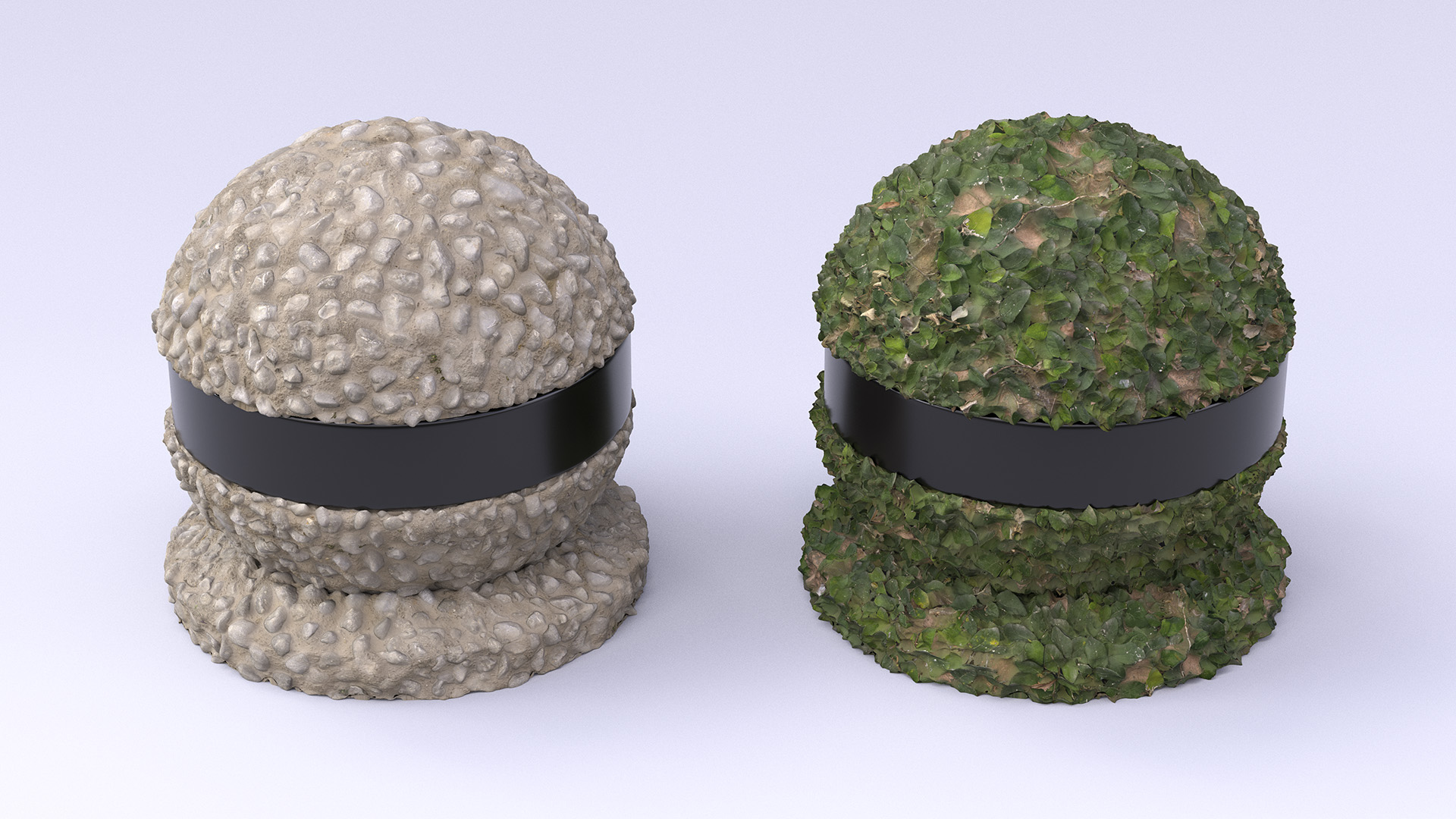 Figure 7: A pebble sphere and a leafy sphere. Note the overhangs on the leafy sphere, which are only possible using vector displacement.