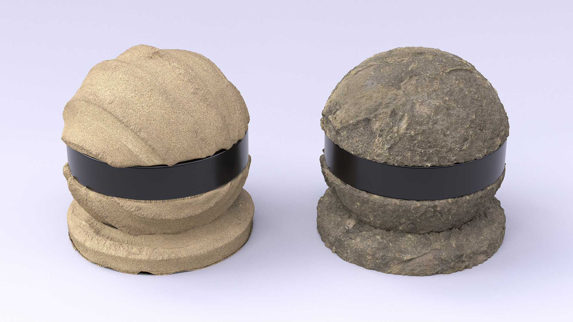 Figure 8: A compacted sand sphere and a stone sphere. Unfortunately, there is some noticeable texture stretching on the compacted sand sphere where crack removal occured.
