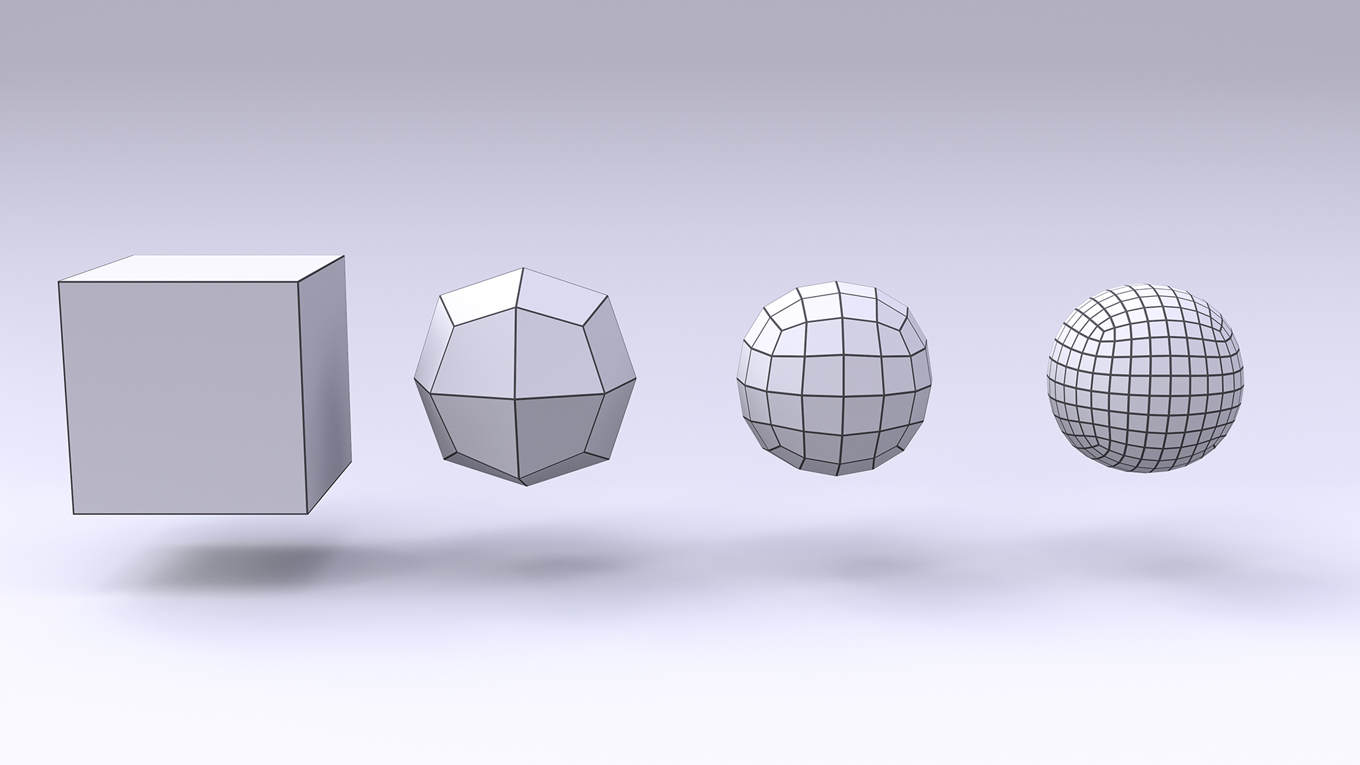 Figure 2: A cube with 0, 1, 2, and 3 subdivision levels, going from left to right.