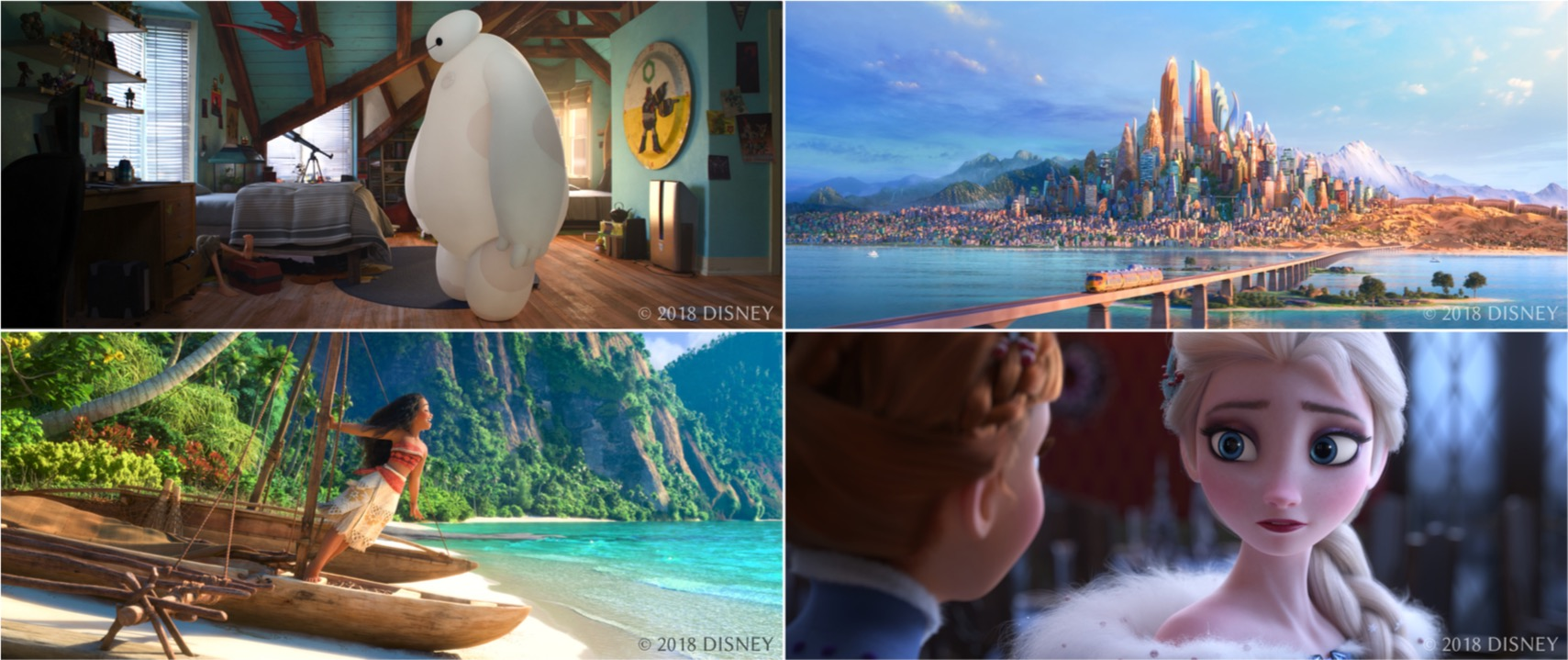 Image from paper Figure 1: Production frames from Big Hero 6 (upper left), Zootopia (upper right), Moana (bottom left), and Olaf's Frozen Adventure (bottom right), all rendered using Disney's Hyperion Renderer.