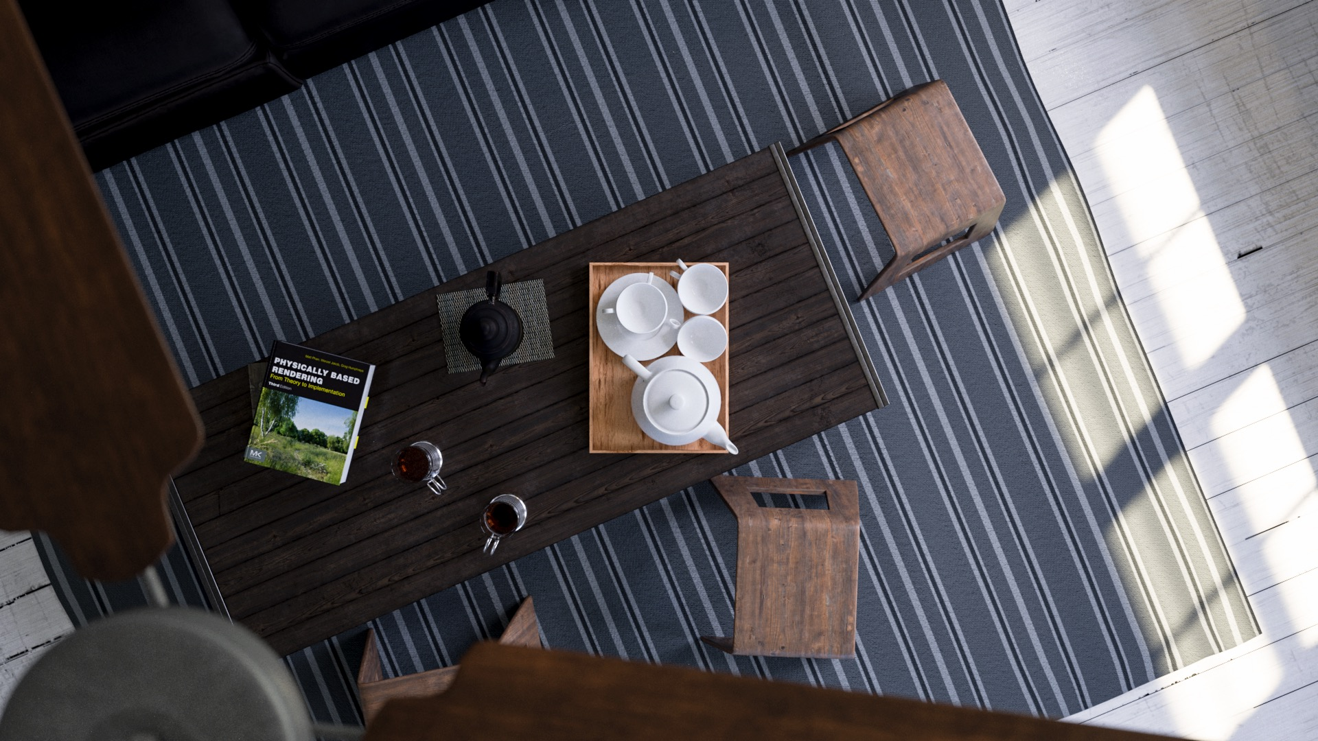 Figure 9: Utah Teapot tea set on the coffee table.