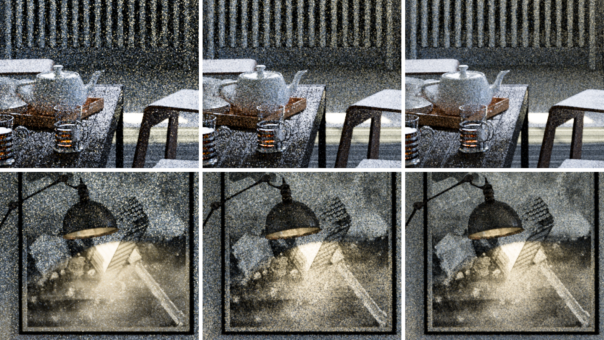 Figure 5: Zoomed crops of Figures 2 through 4. From left to right: uniform random sampling, equal sample power-weighted sampling, and equal time power-weighted sampling.
