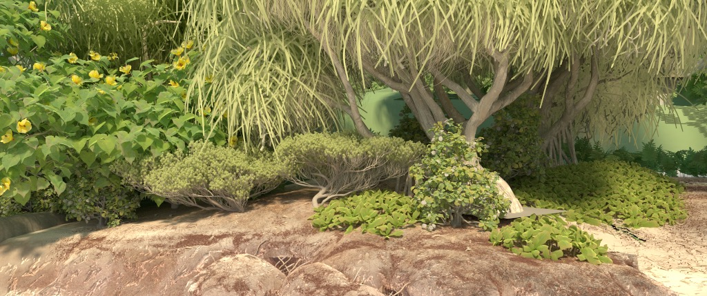 Figure 5b: 'dunesACam' camera angle, rendered using PBRT v3. Some of the plants are in slightly different locations than the Hyperion render; this was just a small change that happened in data conversion to the PBRT scene.