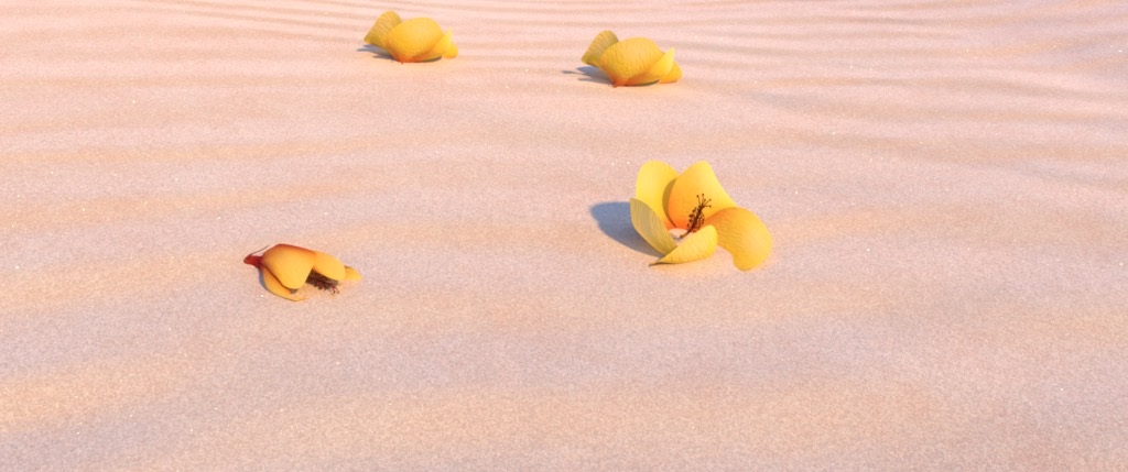 Figure 6a: 'flowersCam' camera angle, rendered using Disney's Hyperion Renderer.