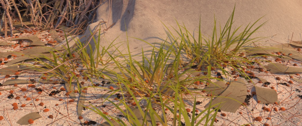 Figure 7a: 'grassCam' camera angle, rendered using Disney's Hyperion Renderer.