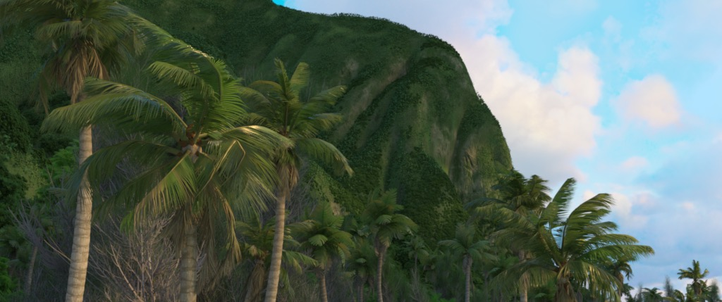 Figure 8a: 'palmsCam' camera angle, rendered using Disney's Hyperion Renderer.