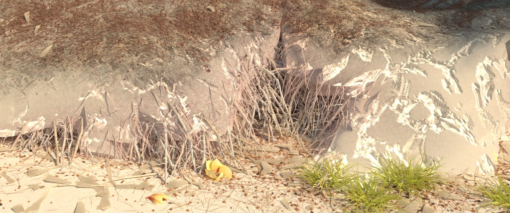 Figure 9b: 'rootsCam' camera angle, rendered using PBRT v3. Again, the significant difference in appearance in the rocks is probably just due to subdivision/tesselation/displacement.