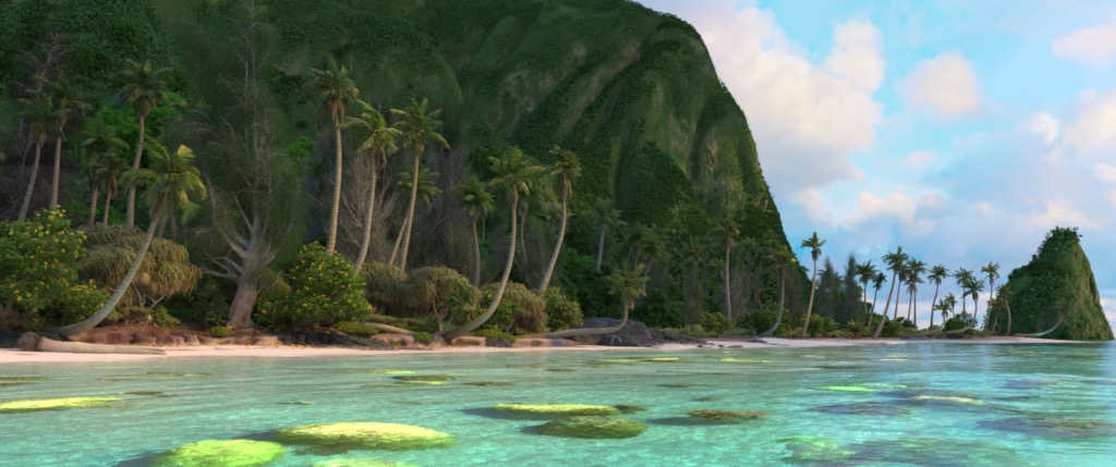 Figure 1: The Moana Island Data Set, rendered using Disney's Hyperion Renderer.