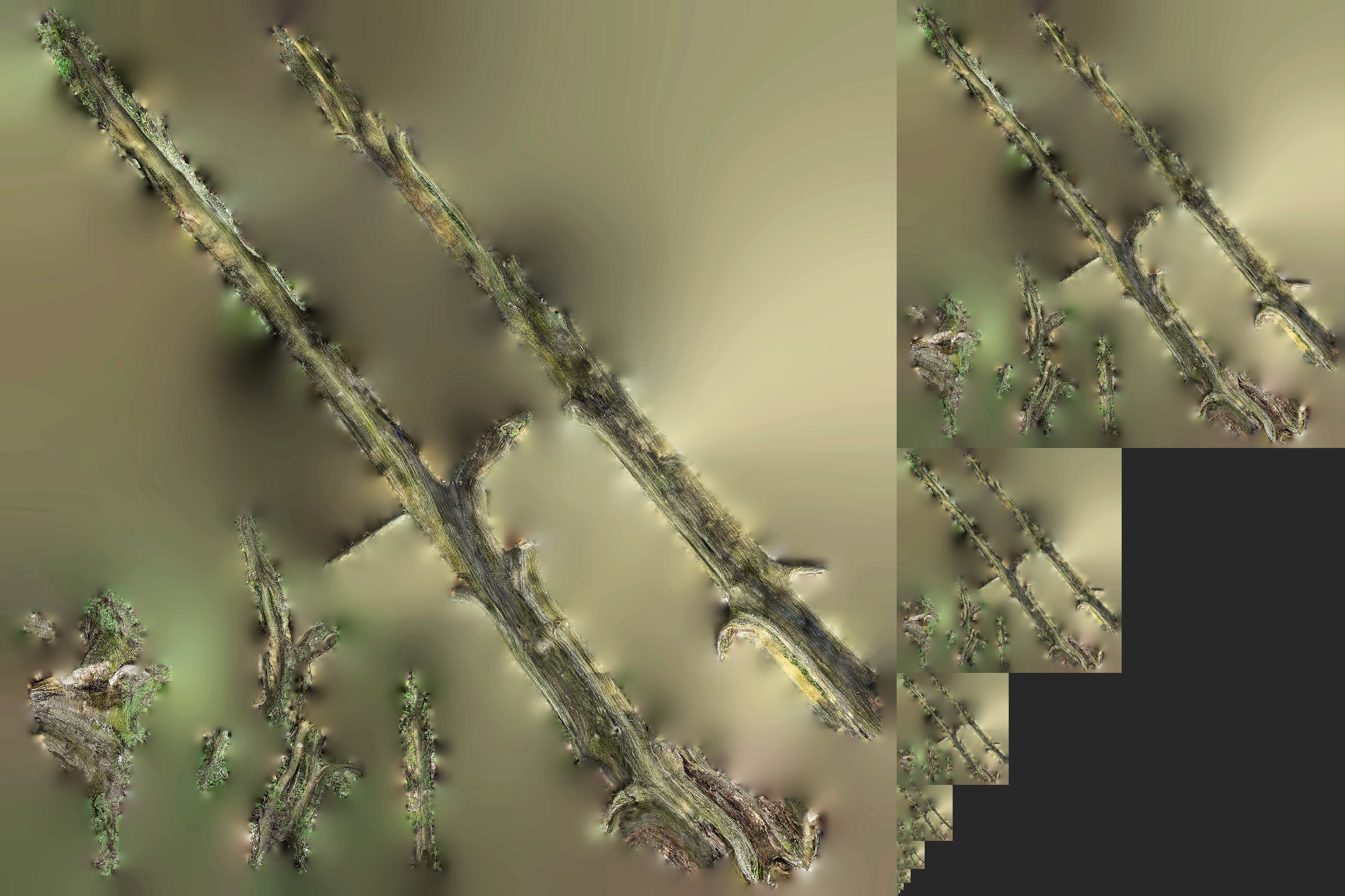 Figure 2: A mipmapped texture. Level 1 of the mipmap is shown on the left, levels 2 through 11 are shown on the right. Level 0 is not shown here. A bit of terminology that is often confusing: the lowest mipmap level is the highest resolution level, while the highest mipmap level is the lowest resolution level.
