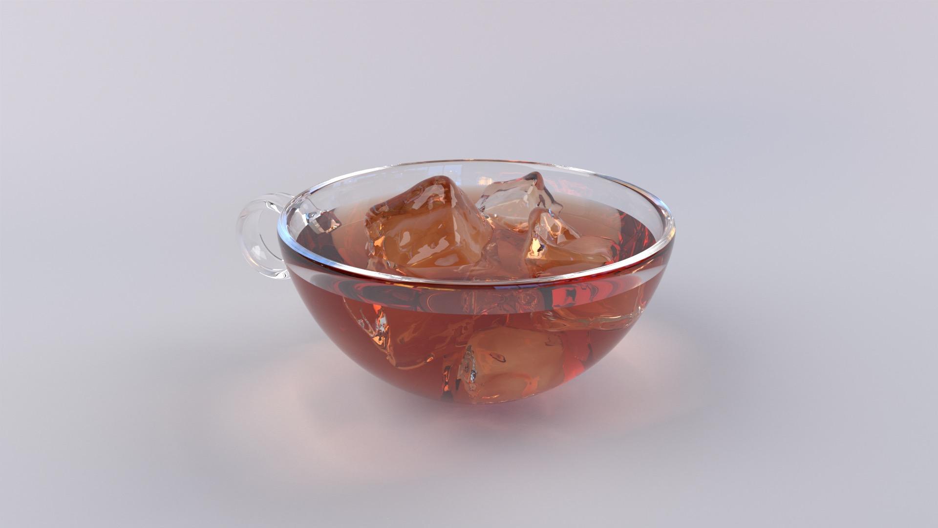 Figure 1: Ice cubes floating in tea inside of a glass teacup, rendered in Takua Renderer using priority-based nested dielectrics.
