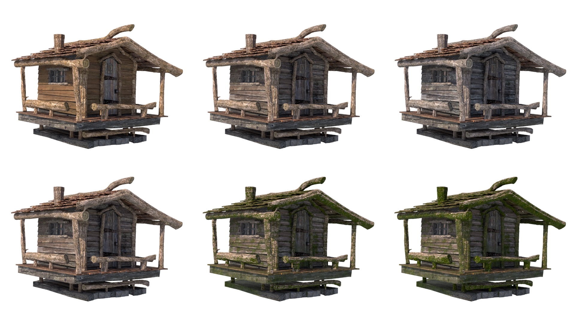 Figure 10: Example of age and moss controllability on one of the cabins. The top row shows, going from left to right, 0% aged, 50% aged, and 100% aged. The bottom row shows, going from left to right, 0% moss, 50% moss, and 100% moss. The final values used were close to 60% for both age and moss.