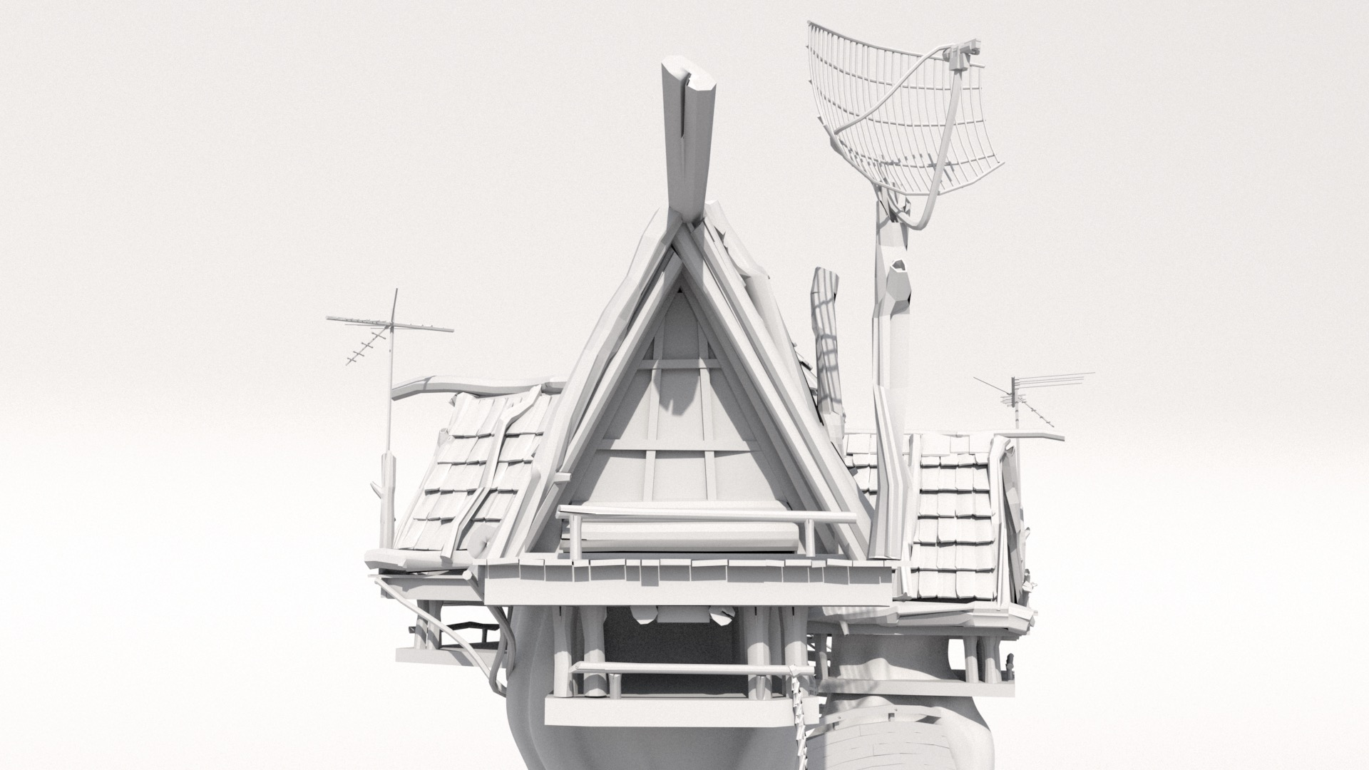 Figure 4: Candidate camera angle with a close-up focus on a specific triangular A-frame treehouse cabin.